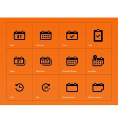 Calendar icons on orange background vector image vector image
