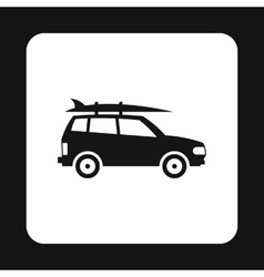 Car with surfboard icon simple style vector image