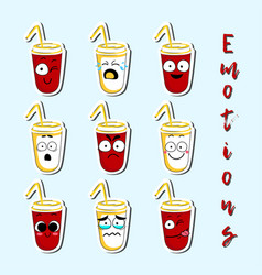 cartoon beverage cup cute character face sticker vector image