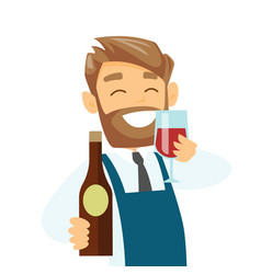 caucasian waiter holding glass and bottle of wine vector image