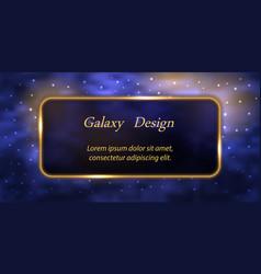 Celestial galaxy banner or poster design blue vector