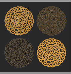 Celtic circle cross ethnic ornament vector