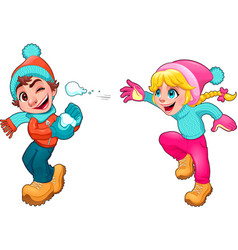 Children Snow vector