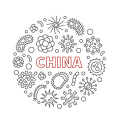 china virus concept outline round vector image