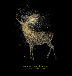 christmas and new year holiday gold glitter deer vector image
