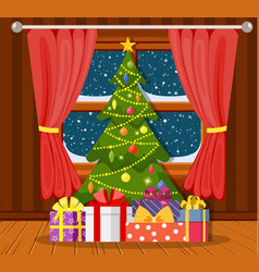 christmas tree in the living room vector image
