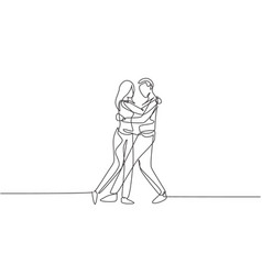 continuous one line drawing happy people dancing vector image