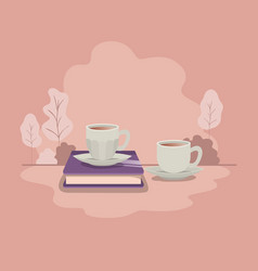 cup of coffee with book isolated icon vector image