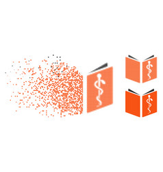 Disintegrating pixel halftone drug handbook icon vector