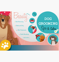 Dog grooming salon poster vector