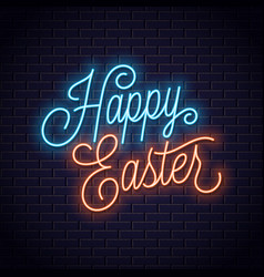 easter neon sign happy easter neon lettering vector image