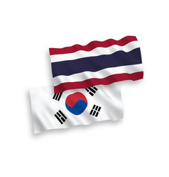 Flags south korea and thailand on a white vector