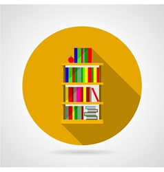 Flat icon for bookshelf with colorful books vector image
