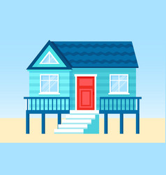 flat tropical beach hut on vector image
