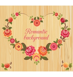 Floral frame in the shape of heart wood background vector
