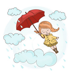 Flying girl autumn fall umbrella season ill vector