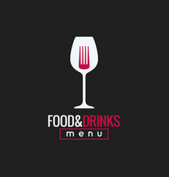 Food and drink logo design wine glass and fork vector
