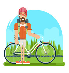 Forest ride bicycle geek hipster ycling travel vector