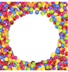 Frame circle colored candies vector
