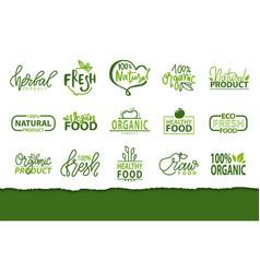 Fresh natural production eco fruits and veggies vector