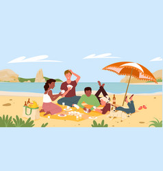 Friends people on beach picnic in summer sea shore vector