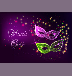 Futuristic mardi gras web banner with glowing low vector