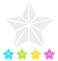 geometric contour faceted star icons - quality vector image