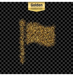 Gold glitter icon of flag isolated on vector image