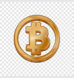 Golden bitcoin trendy 3d style icon vector