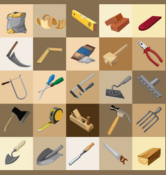 group tool set of gardener builder and carpenter vector image