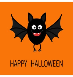 Happy Halloween card Cute cartoon bat flying vector