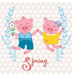 Happy pigs couple jumping vector