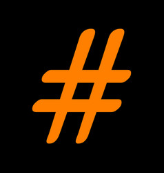 hashtag sign orange icon on black vector image