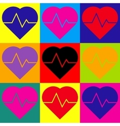 Heartbeat sign Pop-art style icons set vector image