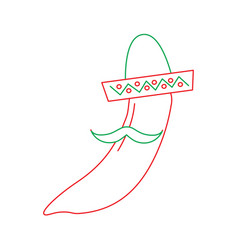 hot mexican chili pepper with hat and mustache vector image