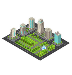 isometric light cityscape concept vector image