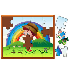 jigsaw puzzle game with boy watering flower vector image