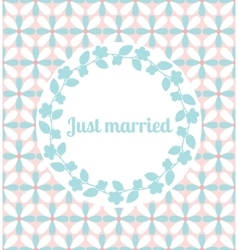 Just married wedding card with floral frame vector