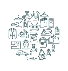 Laundry elements in a circle design vector