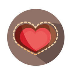 Love heart romatic dotted outline block and flat vector