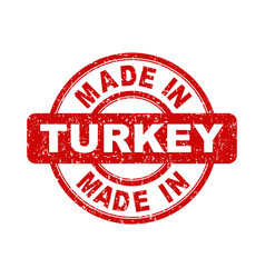 made in turkey red stamp on white background vector image