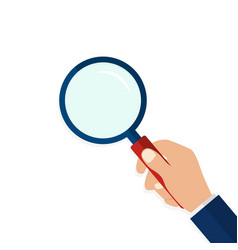 Magnifying glass in hand in flat styleicon of vector