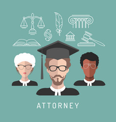 Male and female lawyer app icons vector