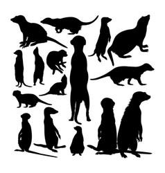 Meerkat animal silhouettes vector