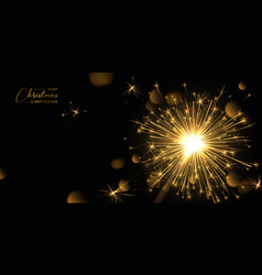 merry christmas background with realistic sparkler vector image