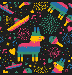 Mexican pattern background of cute mexico art vector