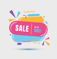 Modern sale banner geometric colorful template vector