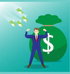 money flying toward strong businessman vector image