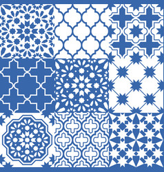 moroccan tiles design seamless navy blue pattern vector image
