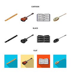 musical instrument cartoonblackflat icons in set vector image